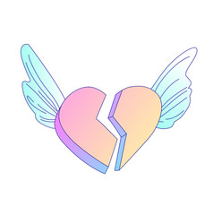 flying on angel wings broken heart cartoon vector image