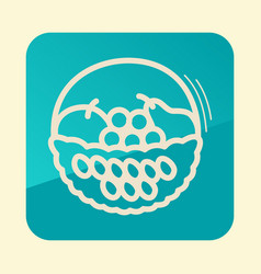 Fruit basket outline icon harvest thanksgiving vector