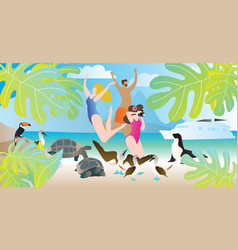 galapagos islands exotic tours vector image