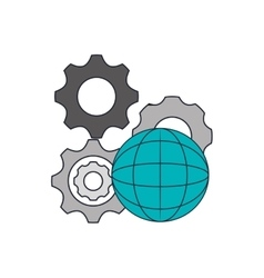 Gears and earth globe diagram icon vector