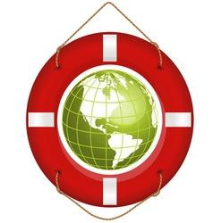 Globe and lifesaver vector