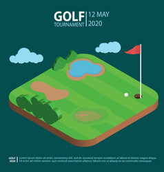 golf course isometric landscape hole with flag an vector image