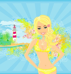 Grunge banner with palm trees and girl in bikini vector