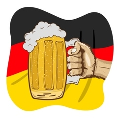 Hand holding mug of beer over german flag vector