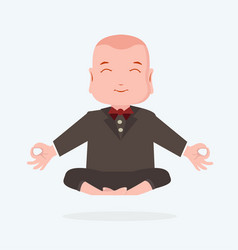happy businessman meditating yoga vector image