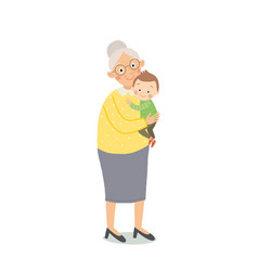 Happy family portrait grandmother and grandson vector