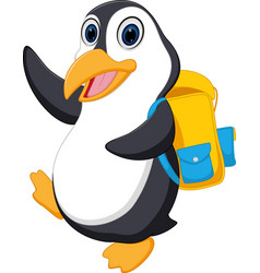 Happy penguin cartoon going to school vector