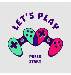 heart-shaped gamepad couple gamer sign love vector image