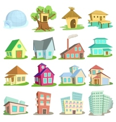 Houses icons set cartoon style vector image