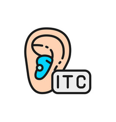 In the canal hearing aid itc flat color line icon vector