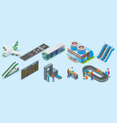 Isometric airport elements set vector