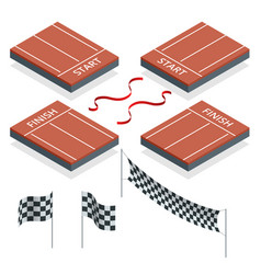 isometric start and finish checkered flags vector image vector image