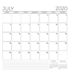 July 2020 monthly calendar planner template vector