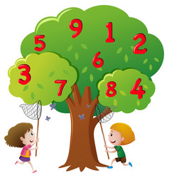 Kids catching numbers on the tree vector
