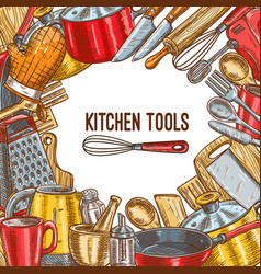 Kitchen tool utensil or kitchenware sketch poster vector