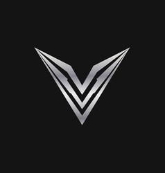 letter v logo luxury metal logo design concept vector image