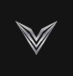 Letter v logo luxury metal logo design concept vector