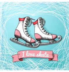 Love skate card theme vector image