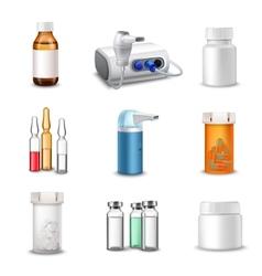 Medical bottles realistic vector image