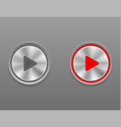 metal media button play on and off position stock vector image