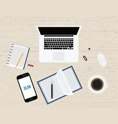 Modern office or freelancer workplace with laptop vector