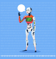 Modern robot show chat bubble message with full vector