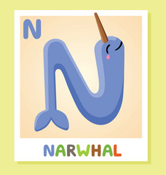 N is for narwhal letter n narwhal cute vector
