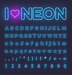 neon alphabet letters symbols numbers vector image