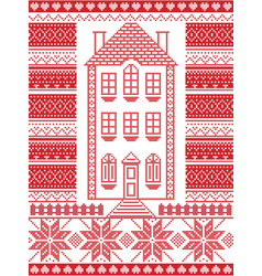 Nordic christmas gingerbread house vector
