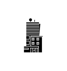 office business building black icon concept vector image