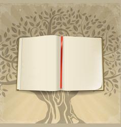 Open book on retro background vector
