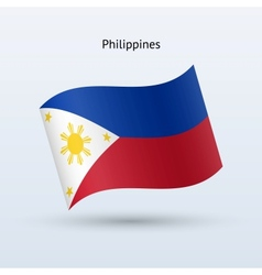 Philippines flag waving form vector