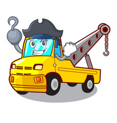 Pirate cartoon tow truck isolated on rope vector