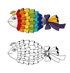 Rainbow fish coloring vector