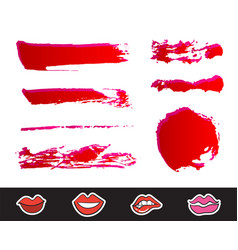 Red lipstick smears set texture brush strokes vector