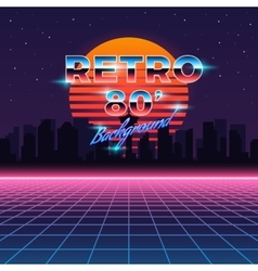 Retro neon abstract Sci-Fi background in vector