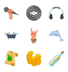 rock show icons set cartoon style vector image