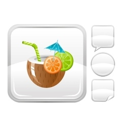 Sea summer beach and travel icon with coconut vector