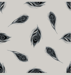 seamless pattern with hand drawn stylized peacock vector image
