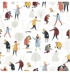 Seamless pattern with people enjoying vector