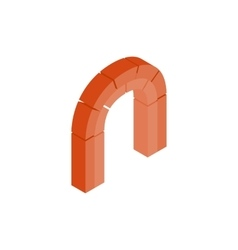 Semicircular arch made of red bricks icon vector