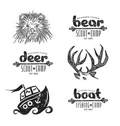 set elements in hand drawn style vector image