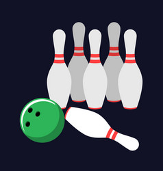 set for bowling with a ball and skittles on a dark vector image
