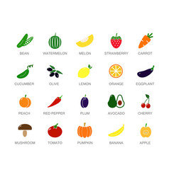 set of colored vegetable and fruit icons with vector image