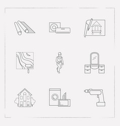 set of design icons line style symbols with wall vector image