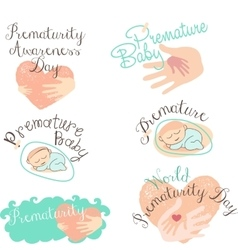 Set of logotypes and icons for Prematurity Day and vector