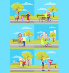set of posters with grandparents and kids vector image