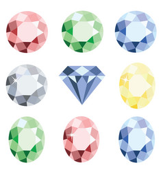 Set of precious stones crystal diamond vector