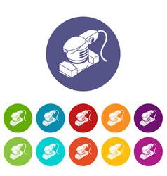 Sheet sander icons set color vector