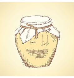 Sketch honey jar in vintage style vector image